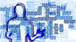 Collage of management-associated words. Dev Randhawa discusses management traits.